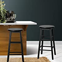 2X Marley Beech Wooden Bar Stool Dining Barstool Chairs Kitchen Cafe Black