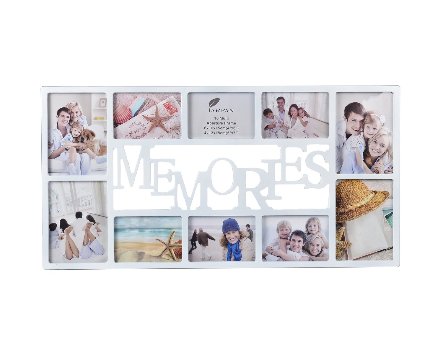 ARPAN 10 Pictures Multi Aperture Photo Frame - White Wall Mount Memories Picture Frame with Front Polystyrene sheet Holds 6 X 6''X4'' Photos, 4 X 5''X7'' Photos – White Plastic Photo Frame CL-9875