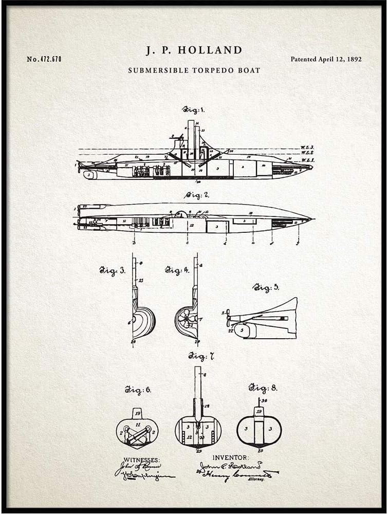 Submarine Patent Print, Vintage Submarine, Submarine Blueprint, Naval Art, Sailor Gift, Nautical Decor, Submarine Poster, Navy, QP344