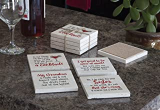 product image for Imagine Design Relatively Funny in Our Family, I Get Paid to Be, My Grandma is Really, Yes, I Do Have The Best Sister, 4-Pk Asset Travertine Coasters, Red/Black/White