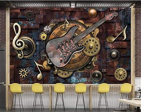 Papel tapiz mural personalizado Personalidad Vintage Metal Notas ...