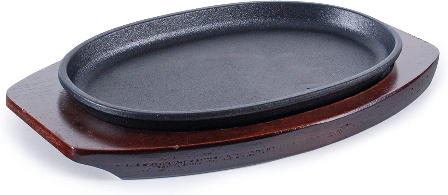 """FMC Fuji Merchandise Corp Cast Iron Steak Plate Sizzle Griddle with Wooden Base Steak Pan Grill Fajita Server Plate Household use or Restaurant Supply (Oval Shape 10.25""""L)"""