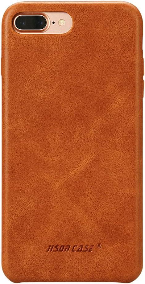 JISONCASE Compatible iPhone 8 Plus Leather Case iPhone 7 Plus Case Slim Back Cover Snap Grip Case for Apple iPhone 7 Plus / 8 Plus 5.5 inches, Brown (TC-I8L-04A20)