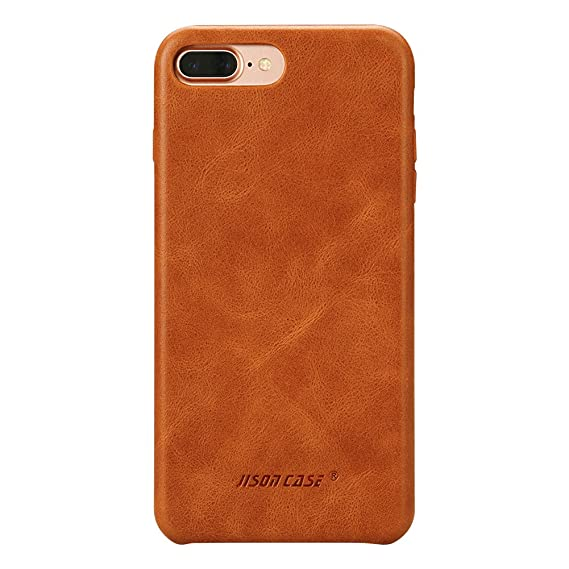new products 1692d 03520 iPhone 8 Plus Leather Case, iPhone 7 Plus Case, Jisoncase Slim Back Cover  Snap Grip Case for Apple iPhone 7 Plus / 8 Plus 5.5 inches, Brown ...