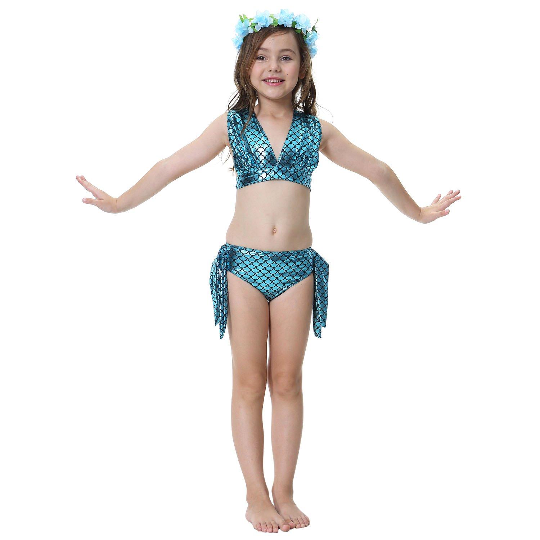 Le SSara Chicas Cosplay Halter cuello traje sirena concha baño 3pcs Bikini establece