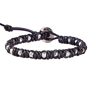 KELITCH Natural Beaded Single Wrap Bracelet on Leather HandWoven New Charm Cuff Jewelry 4nGlk
