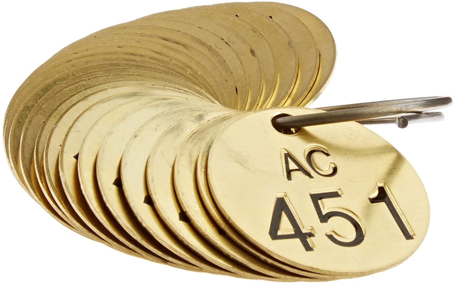Legend AC Brady  23494 1 1//2 Diameter Stamped Brass Valve Tags Numbers 451-475 Pack of 25 Tags