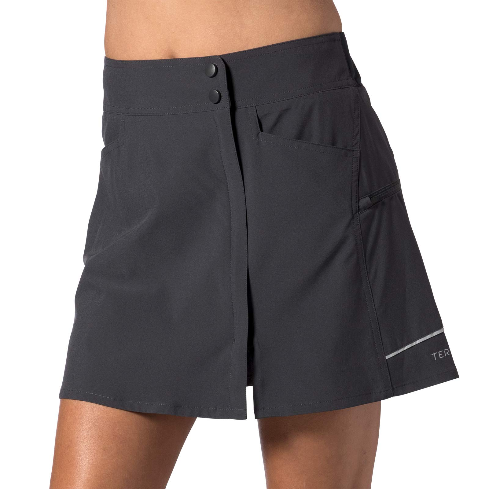 Terry Women's Metro Skort Lite Cycling Athletic Sport Skirt with Padded Chamois Liner Shorts - Ebony - Small by Terry