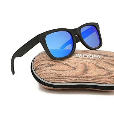 f56ef5781a VOBOOM® Polarized Black Bamboo Frame Mens Womens Vintage Sunglasses Eyewear  with original package S002-