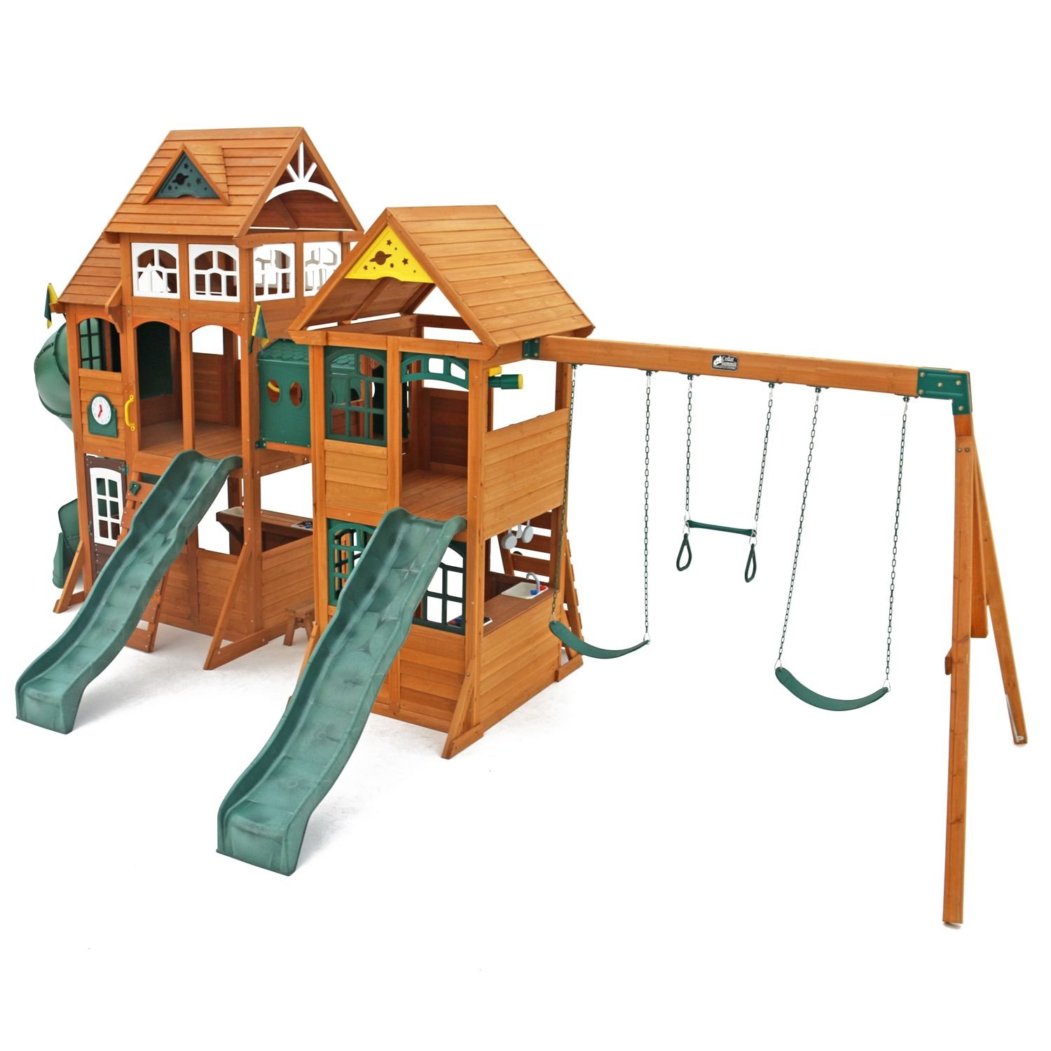 amazon com cedar summit wooden play set complete park forts