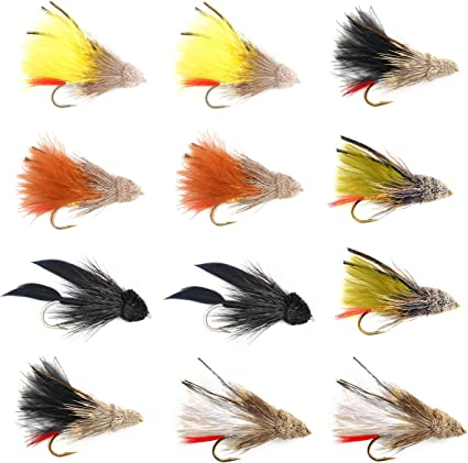 Set of 4 Flies Size 8 The Fly Fishing Place Black Muddler Minnow Fly Fishing Flies Bass and Trout Streamers