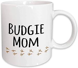3dRose budgerigar pet owner for her female parakeet lover - text with bird footprints Mug, 11 oz, Ceramic