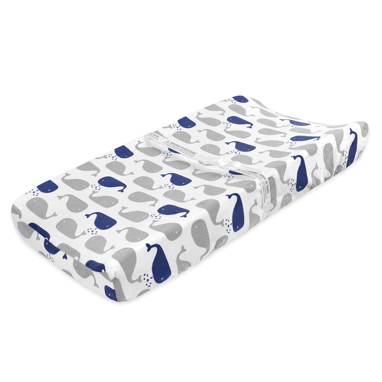 Just Born High Seas Nautical Changing Pad Cover, Grey/Blue Whales by Just Born   B0153QAU46