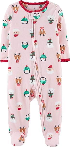 ab70f42102e7 Amazon.com  Carter s Baby Girls  Christmas Zip-Up Fleece Sleep ...