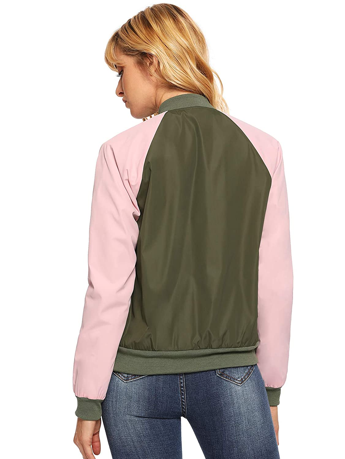 Floerns Womens Casual Short Embroidered Floral Bomber Jacket