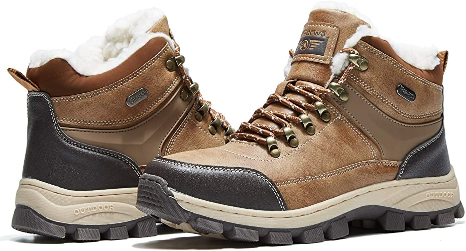 Mens Winter Warm fur lined High Top Snow boots Safety Buckle Ankle Boots Shoes