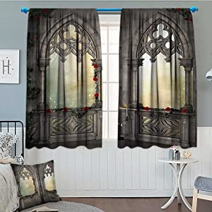 SeptSonne Gothic Decor Window Curtain Drape Vintage Ottoman Palace Balcony for Sultans with Red Rose Flowers Ivy Terrace Image Decorative Curtains for Living Room 52