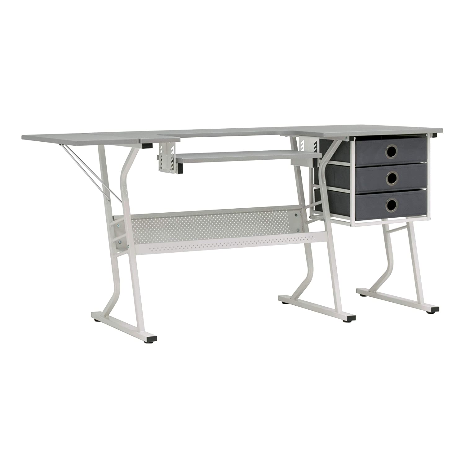 Sew Ready 38010 Eclipse Hobby Center Craft Table Computer Desk with Drawers, 60.25' W x 23.75' D x 29.25' H, White/Grey