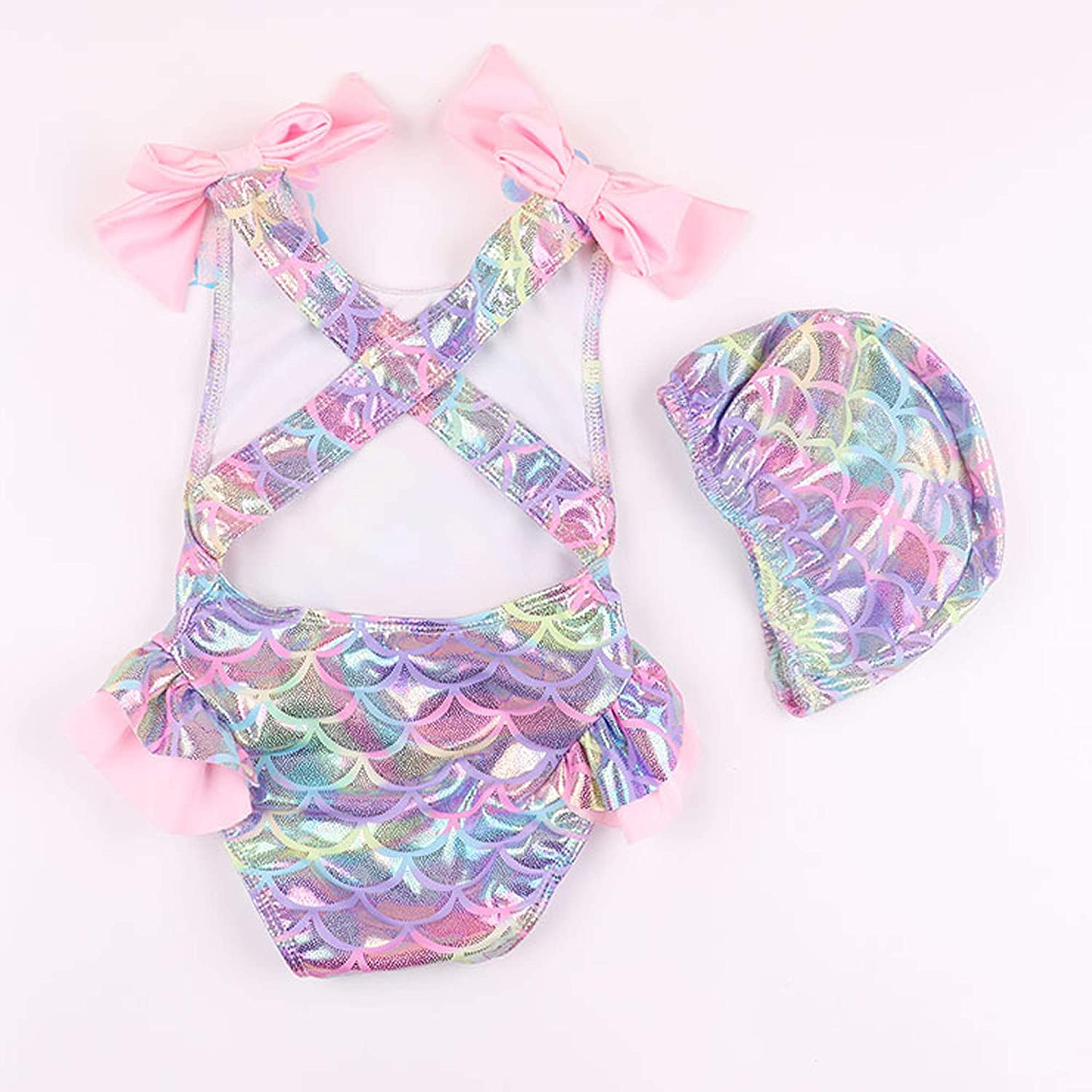 Mermaid Swimsuits One-Piece Scale Infant Toddler Baby GirlsRomper Bathing Suit