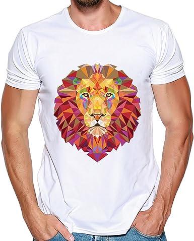 Blusas Hombre Lanskirt Camisetas Estampadas PatróN de LeóN de Color BáSicas Camisas Casual Blusa Creativa Deportiva T Shirt Manga Corta para Hombres Verano 3XL: Amazon.es: Ropa y accesorios