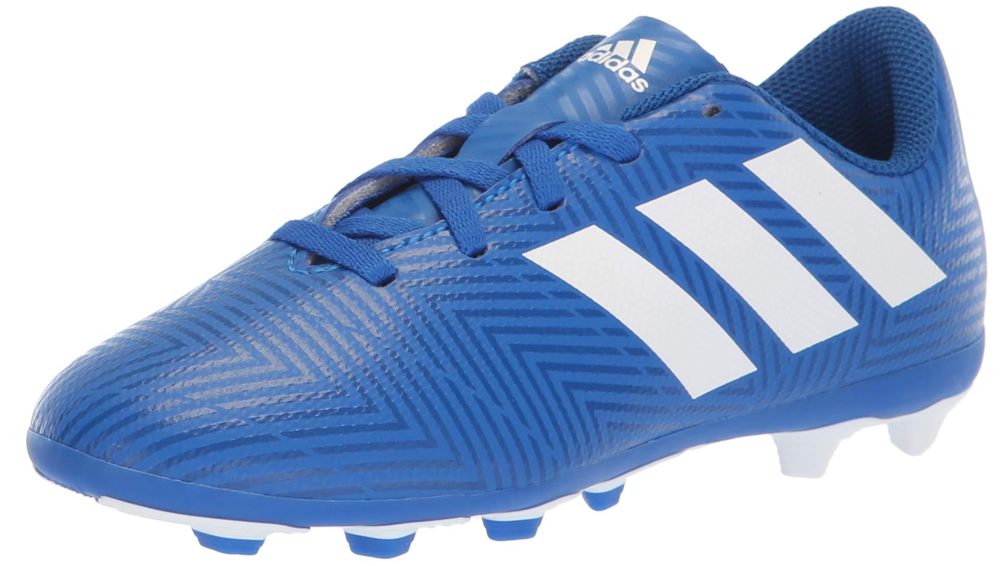 adidas Unisex Nemeziz 18.4 Firm Ground Soccer Shoe, White/Football Blue, 5.5 M US Big Kid