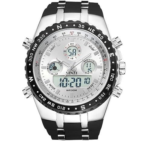 binzi Big Face Sport Relojes para hombres, números romanos impermeable militar táctico muñeca relojes con