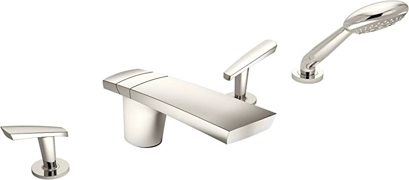 Symmons Srt 4172 Pnl Naru 2 Handle Deck Mount Roman Tub Faucet With 3 Spray Hand Shower In Polished Nickel Tub Filler Faucets Amazon Com