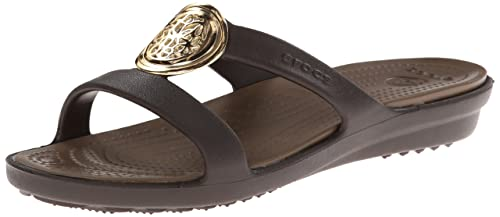 Crocs Womens Women's Sanrah Circle Dress Sandal,Espresso/Walnut,4 ...