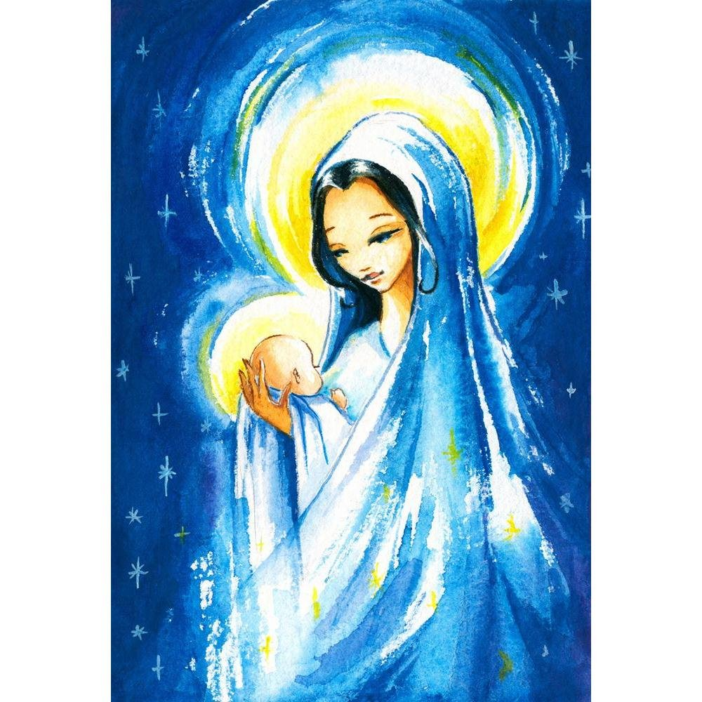 Pitaara Box Mary With The Young Jesus Christ In Her Arms Canvas Painting Mdf Frame 18 X 26 4inch Amazon In Home Kitchen
