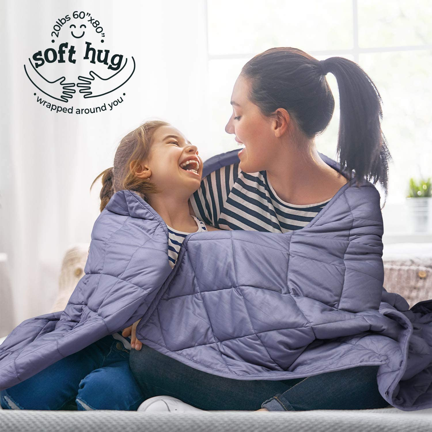 "Mooka Weighted Blanket 20lbs 60""x80"" Queen Size for Adults, 100% Cotton Material with Premium Glass Beads, for 160-280 lbs Individuals, Cooling Weighted Blanket for Restful Sleep, Grey"