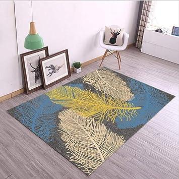 Tapis de Salon Moderne Tapis Art Tapis de Luxe Canapé Jaune Beige Bleu  Foncé Feuille Feuille Modèle Tapis de Chambre,Blue,140 * 200