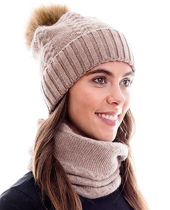 2c466d54454473 Hilltop Winter Kombi Set aus Schal und passender Strickmütze (Beanie mit  abnehmbarem Pompon) aus
