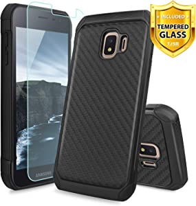 TJS Phone Case for Samsung Galaxy J2 Core/J2 2019/J2 Pure/J2 Dash/J2 Shine, with [Tempered Glass Screen Protector] Dual Layer Hybrid Shock Absorbing Carbon Fiber Back Hard TPU Inner Layer (Black)