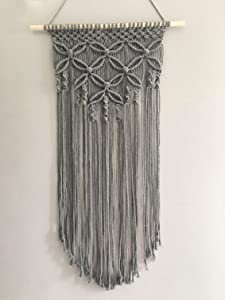 Winterdemoon Handmade Cotton Home Decor Macrame Wall Hanging Grey