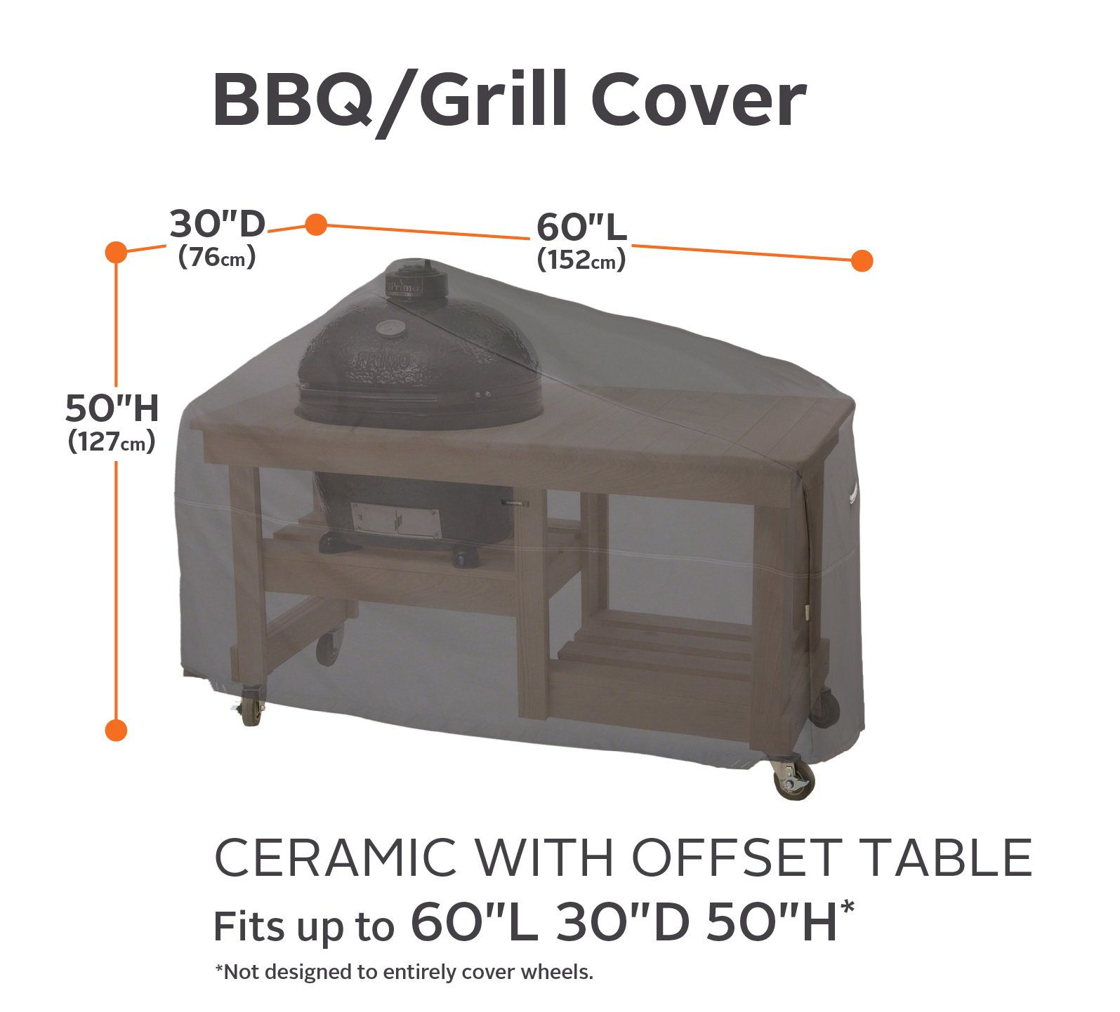 Classic Accessories Ravenna Kamado Ceramic Grill with Offset Table Cover - Premium Outdoor Grill Cover with Durable and Water Resistant Fabric (55-420-015101-EC) by Classic Accessories (Image #2)