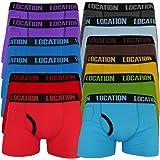 Boxer da Uomo (Pacco da 12) Boxers da Uomo Traspiranti Attillati Patta con Bottone Cotone Elasticizzato Colori Assortiti