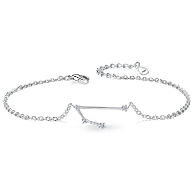 Clearine Women 925 Sterling Silver Wedding Bridal CZ Horoscope Zodiac 12 Constellation Astrology Link Bracelet ByfX4