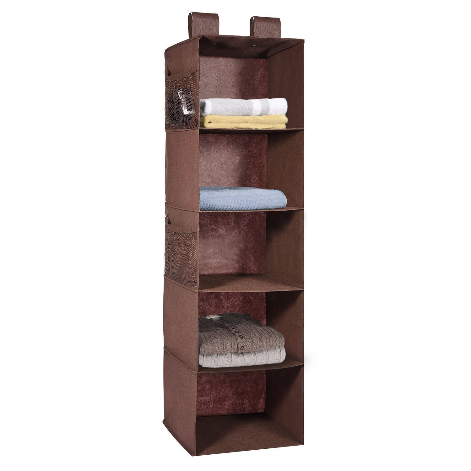 Hanging Wardrobe Storage, MaidMAX 5 Shelves Heavy Duty Organiser Storage Unit with 4 Side mesh Pockets for Sweaters, Shoes, Accessories - Brown(30 x 30 x 106 cm)