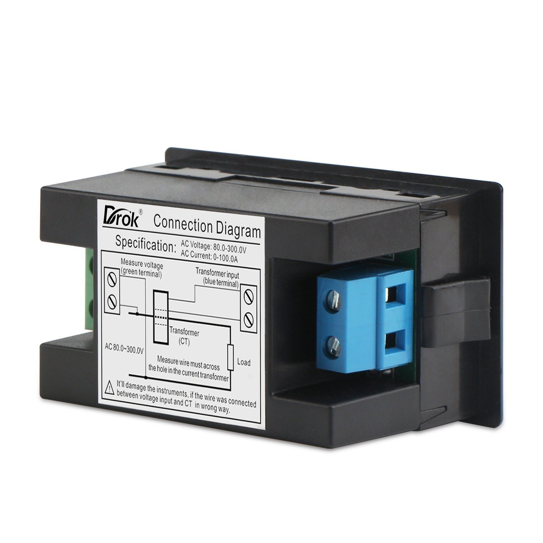 Drok Lcd Display Digital Multimeter Voltmeter Ammeter Ac 80 300v Wiring Voltage Current Meter Gauge 100a