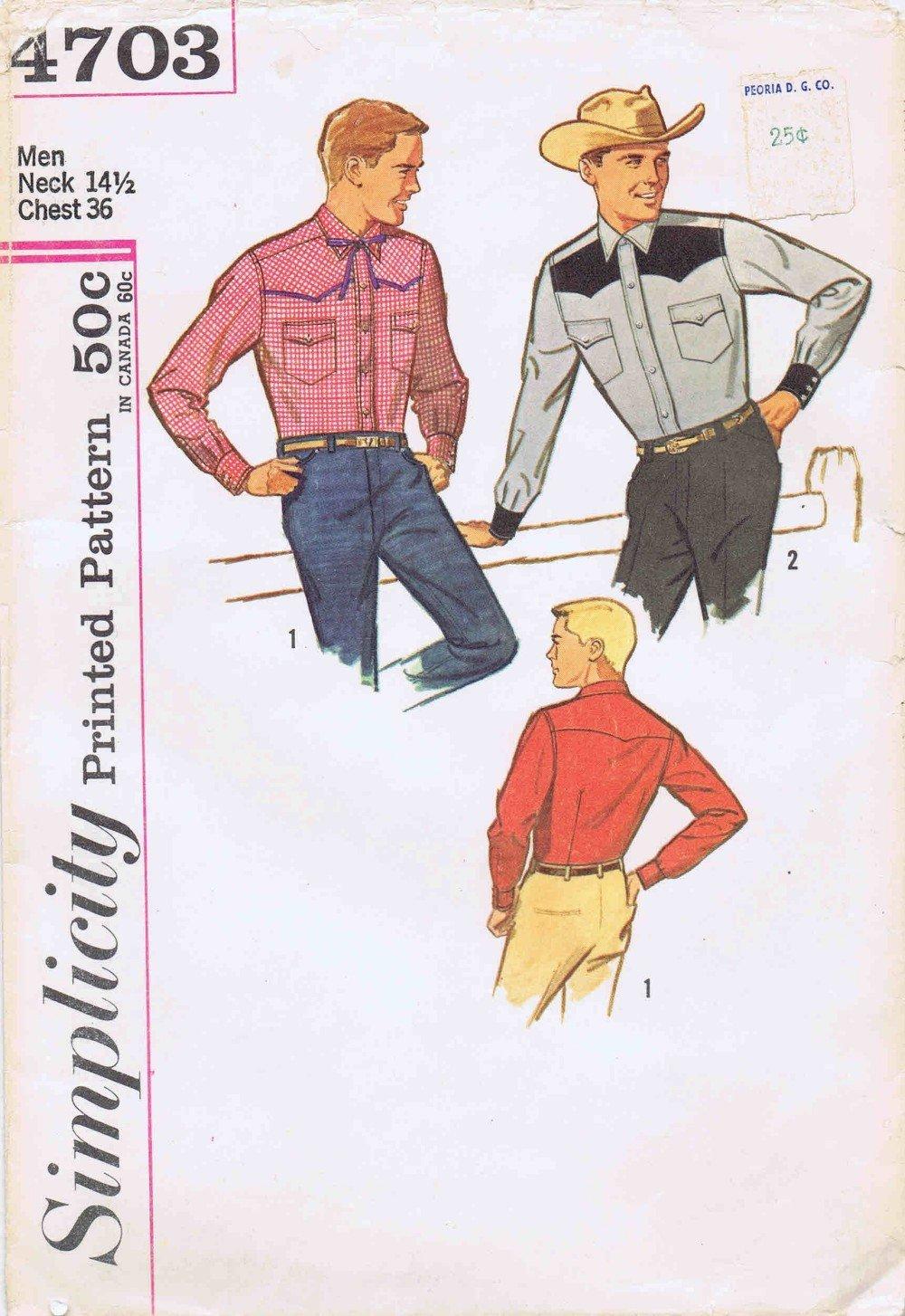 1960s - Camisa para hombre, ajustada, estilo vintage, talla 4703 ...