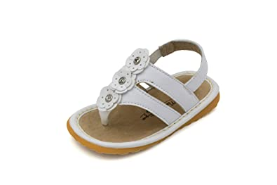 2f51d9081ba21b White Flower Thong Toddler Girl Squeaky Sandals Shoes (3)