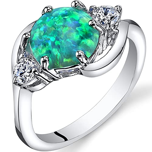 Peora Created Green Opal 3 Stone Ring Sterling Silver 1.25 Carats Sizes 5 to 9