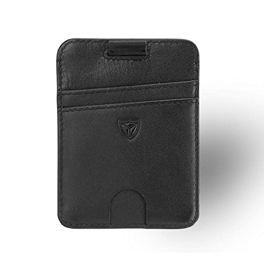 detailed look 09635 5eacd Slim Front Pocket Leather Wallet RFID Blocking Minimalist Thin Card Holder  with Thumb Hole ID Window Pull Tab Card Case