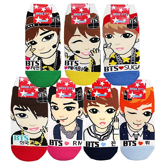 b31d1e1130d9 Amazon.com  BTS Kpop Star Character Low Ankle Socks 7 Pack for Girls ...
