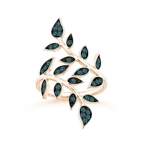 Angara Pave Set Blue Sapphire Olive Leaf Vine Ring qgEwvI