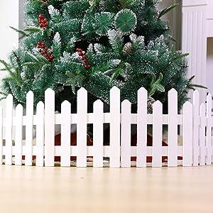 lheaio Christmas Xmas Decorative Wooden Miniature Picket Fencing Garden Border Grass Lawn Edge Fence, for Home/Christmas Tree/Wedding Party, White/Brown (White)