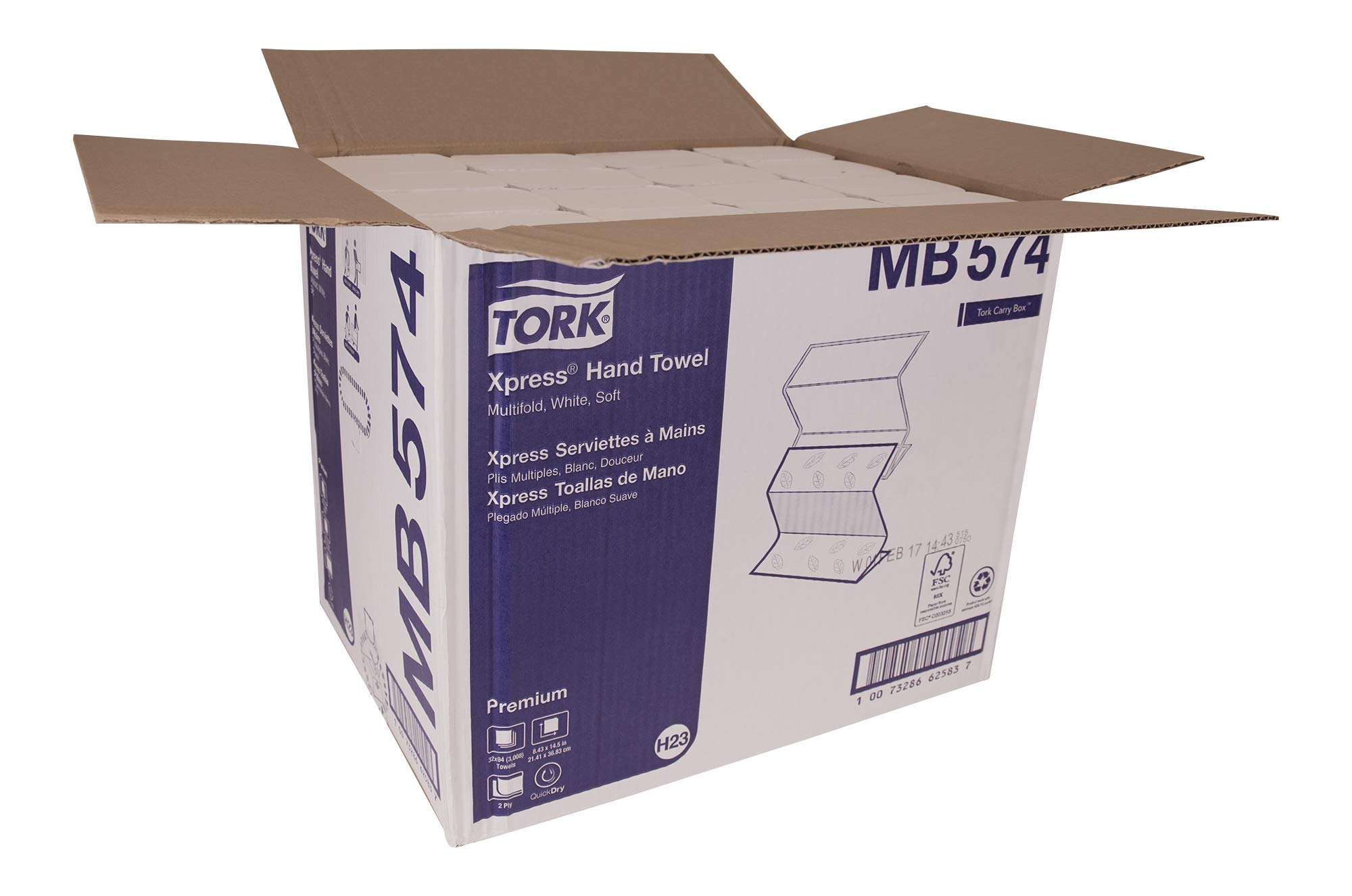 Tork Premium MB574 Soft Xpress Multifold Paper Hand Towel, 4-Panel, 2-Ply, 8.4'' Width x 14.5'' Length, White (Case of 32 Packs, 94 per Pack, 3,008 Towels) by Tork (Image #9)