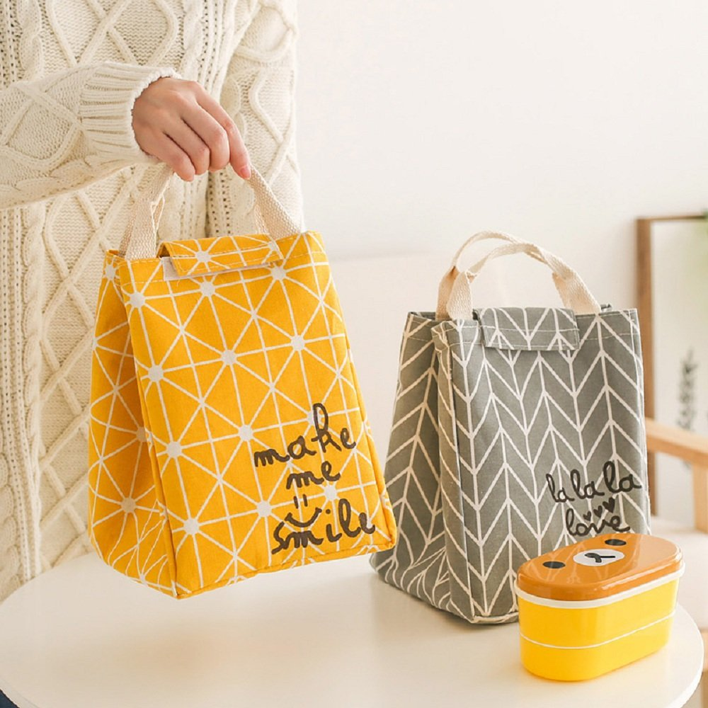 HOMESPON Reusable Lunch Bags Printed Canvas Fabric with Insulated Waterproof Aluminum Foil, Lunch Box for Women, Kids, Students (Rhombus Pattern-Yellow) by HOMESPON (Image #5)