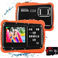 Kids Waterproof Camera Digital Camera for 4-10 Years Old Children, 12MP HD Underwater Action Camera Camcorder with 8X Digital Zoom, 2.0 Inch LCD Display, 16G Micro SD Card – Easy to Use (Orange)