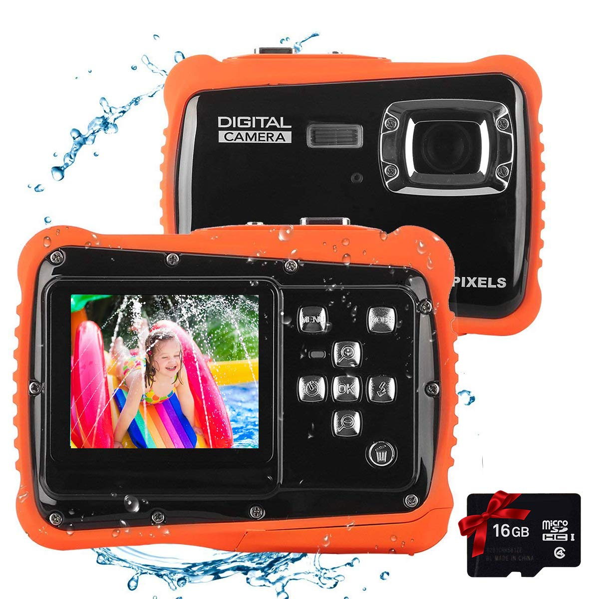 Kids Waterproof Camera Digital Camera for 4-10 Years Old Children, 12MP HD Underwater Action Camera Camcorder with 8X Digital Zoom, 2.0 Inch LCD Display, 16G Micro SD Card - Easy to Use (Orange)